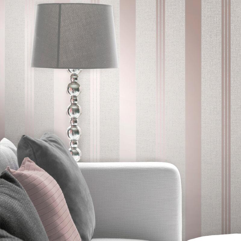 Fine Decor Quartz Stripe Rose Gold Glitter Wallpaper - FD42205