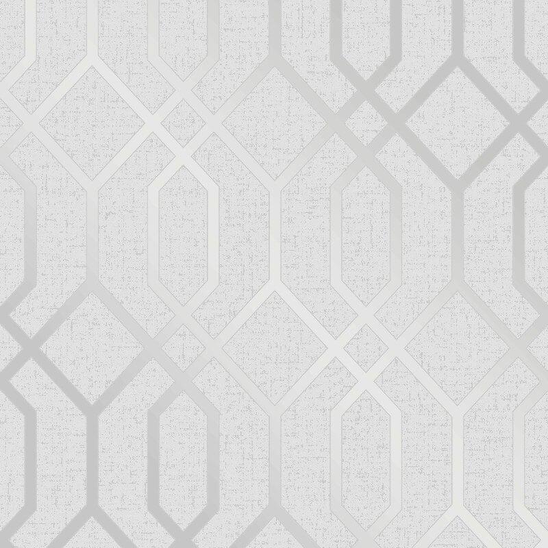 Fine Decor Quartz Trellis Silver Glitter Wallpaper - FD42304