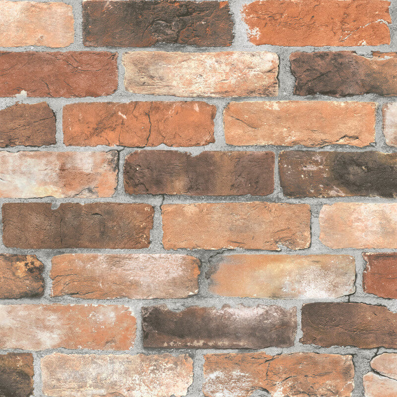 Fine Decor Reclaimed Brick Orange Wallpaper - FD22300