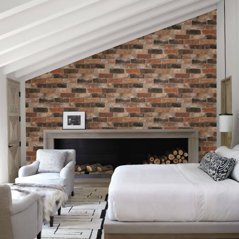 Fine Decor Reclaimed Brick Orange Wallpaper