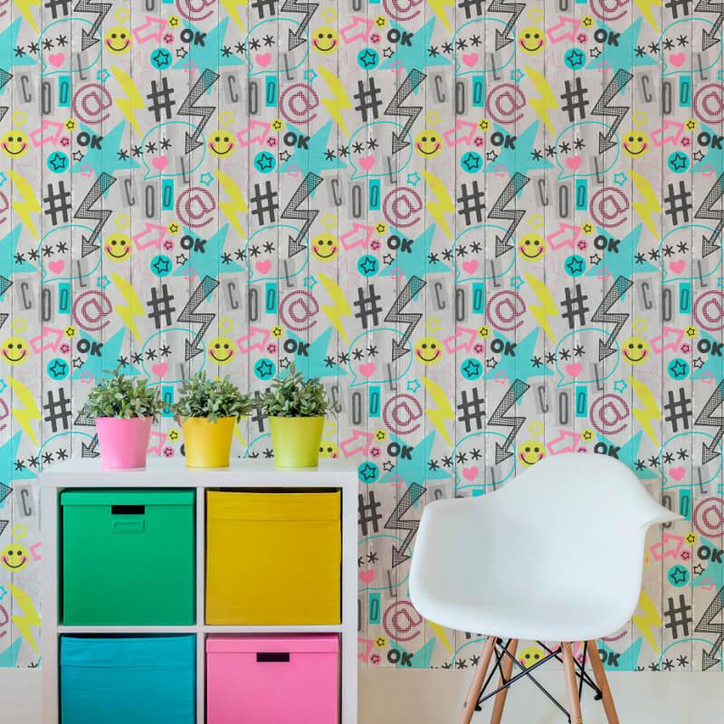 Fine Decor Social Media Yellow/Blue Wallpaper - FD42216