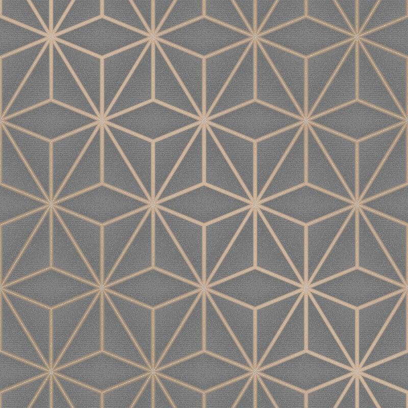 Fine Decor Star Geo Charcoal Metallic Glitter Wallpaper - FD42350