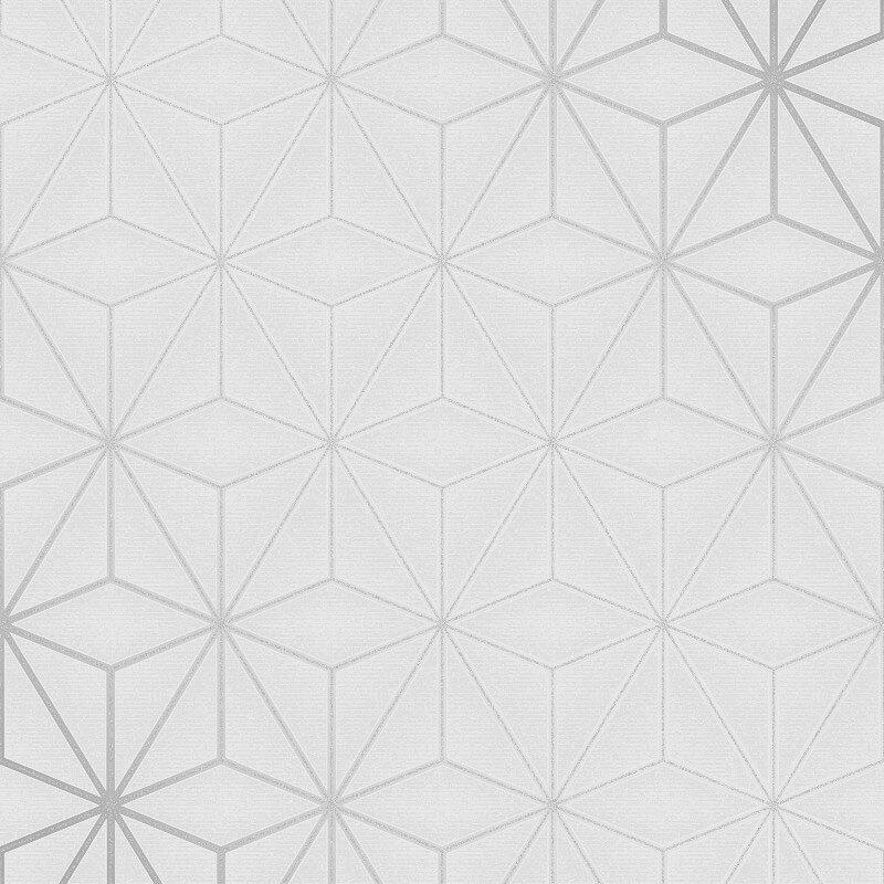 Fine Decor Star Geo Silver Metallic Glitter Wallpaper - FD42338