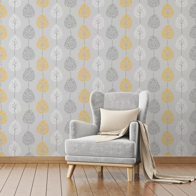 Fine Decor Tree Grey/Yellow Wallpaper - FD41594 (Tree)