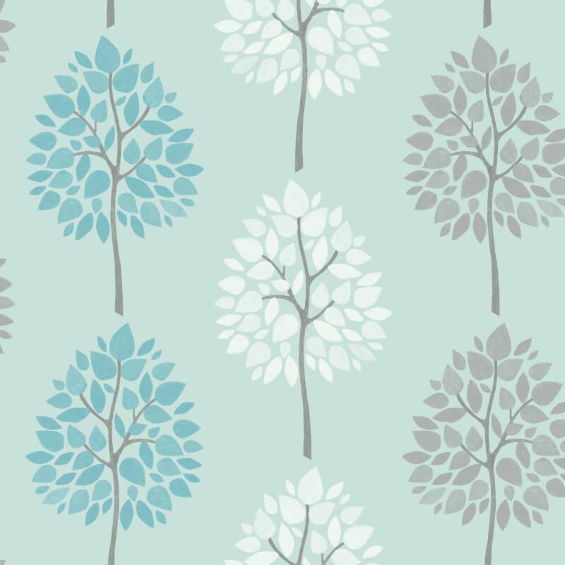 Fine Decor Tree Teal/White Wallpaper - FD41593
