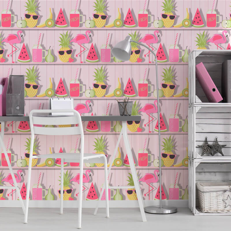 Fine Decor Tropical Shelves Pink Wallpaper - FD42212