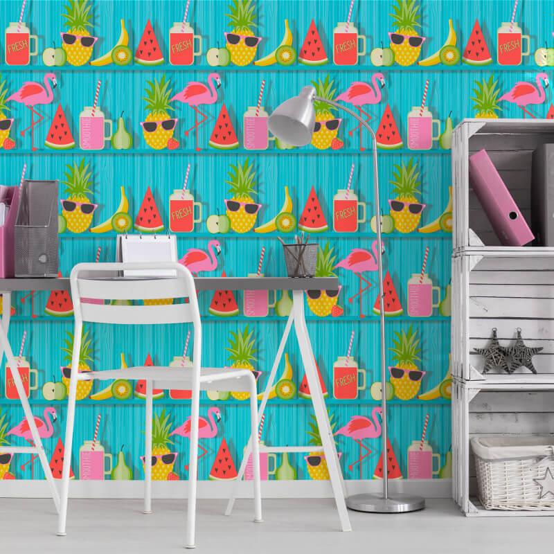 Fine Decor Tropical Shelves Teal Wallpaper - FD42210
