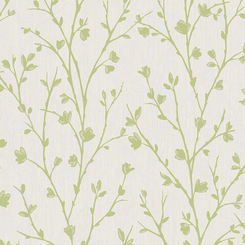 Fine Decor Twiggy Tree Green Wallpaper - FD42159
