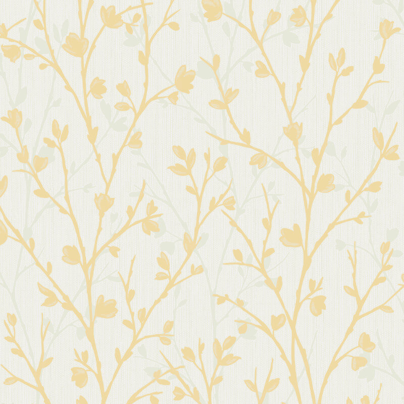 Fine decor twiggy tree yellow wallpaper fd42158 for Yellow wallpaper home decor