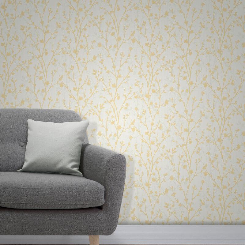Fine Decor Twiggy Tree Yellow Wallpaper - FD42158