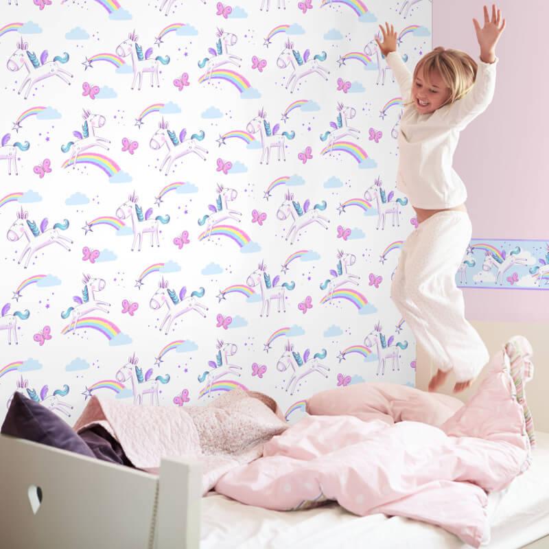 Fine Decor Unicorn Multi Wallpaper
