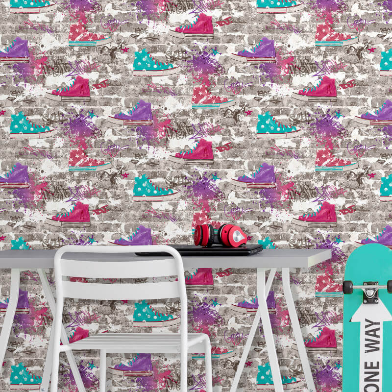 Fine Decor Urban Street Purple Wallpaper - FD42219