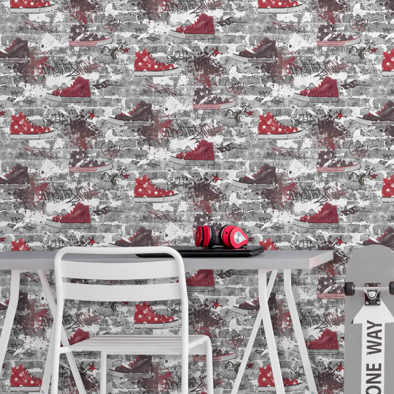 Fine Decor Urban Street Red/Silver Wallpaper - FD42221