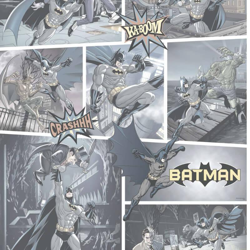 Galerie Batman Fight Scene Black Wallpaper - BT9001-2