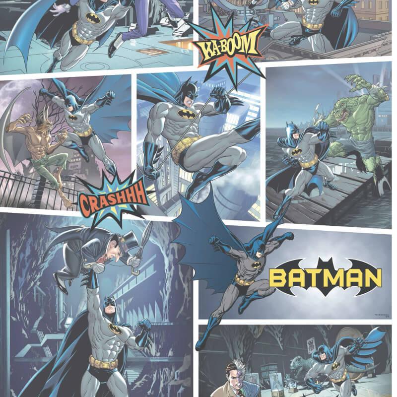 Galerie Batman Fight Scene Blue Wallpaper - BT9001-1