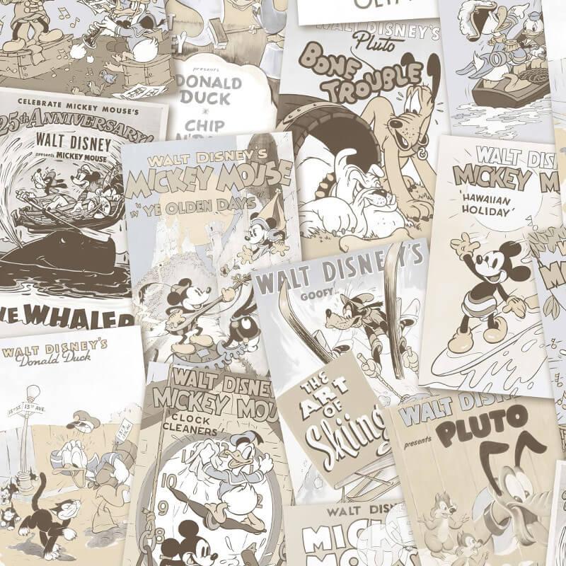 Galerie Disney Mickey & Friends Poster Beige Wallpaper - DY3012-3