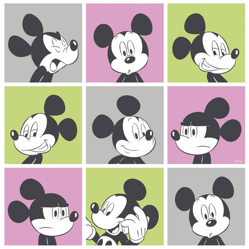 Galerie Disney Mickey Head Shot Pink/Green Wallpaper - MK3013-3