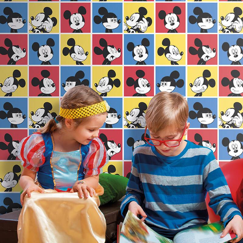 Galerie Disney Mickey Head Shot Red/Blue Wallpaper - MK3013-1