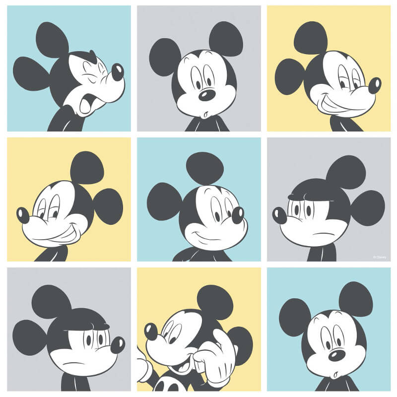 Galerie Disney Mickey Head Shot Yellow/Blue Wallpaper - MK3013-2