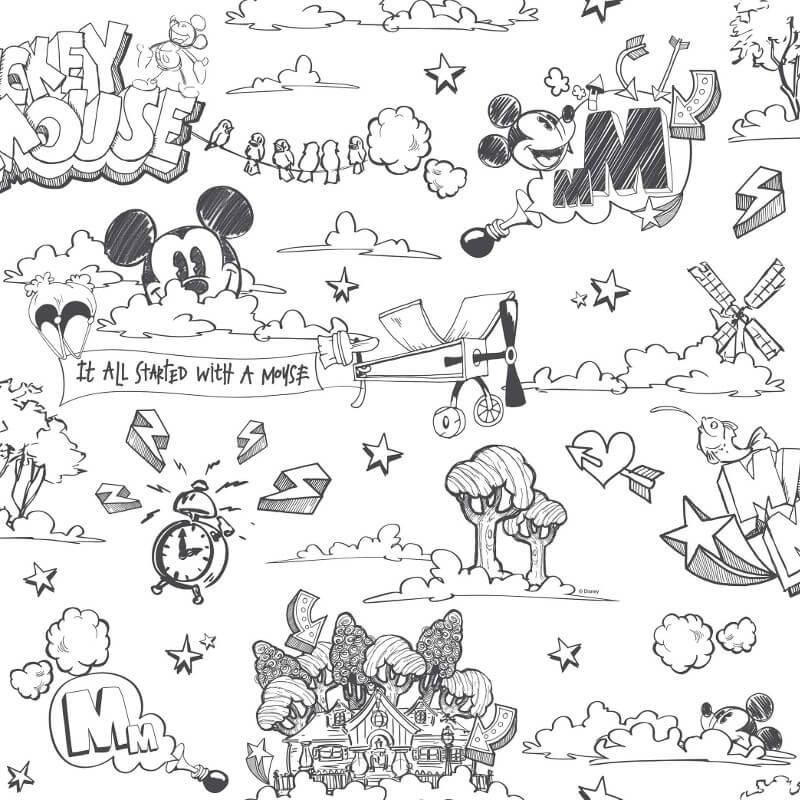Galerie Disney Mickey Scene Black/White Wallpaper - MK3014-1