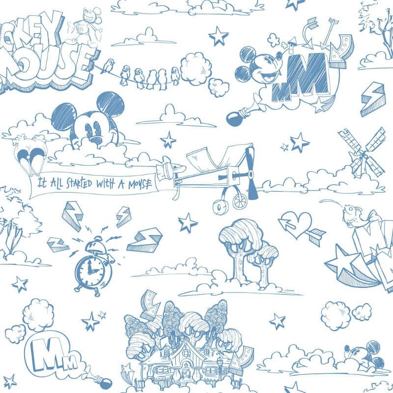 Galerie Disney Mickey Scene Blue/White Wallpaper - MK3014-2