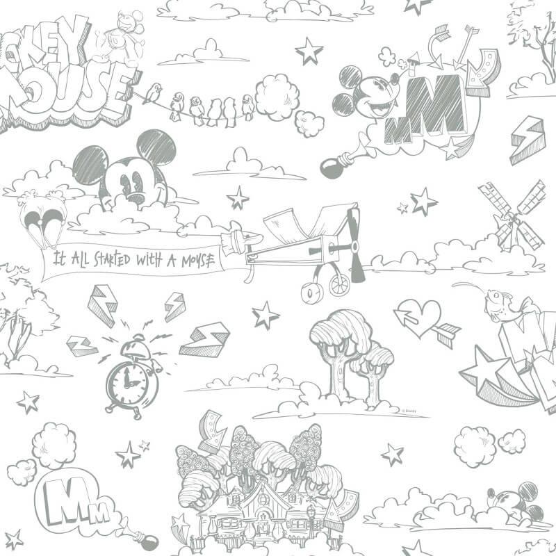 Galerie Disney Mickey Scene Grey/White Wallpaper - MK3014-4