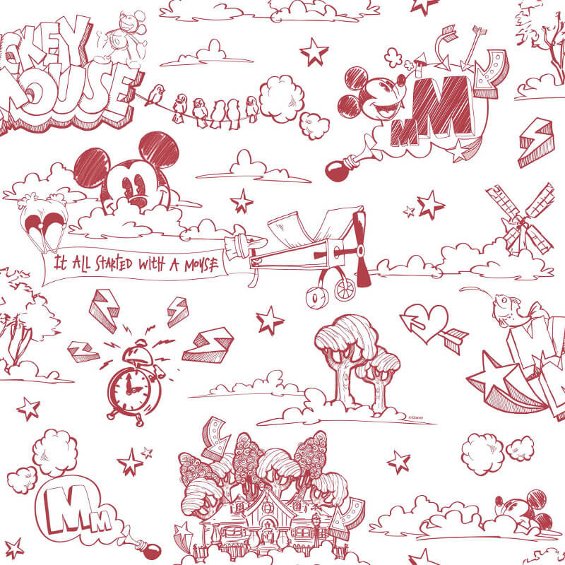 Galerie Disney Mickey Scene Red/White Wallpaper - MK3014-3