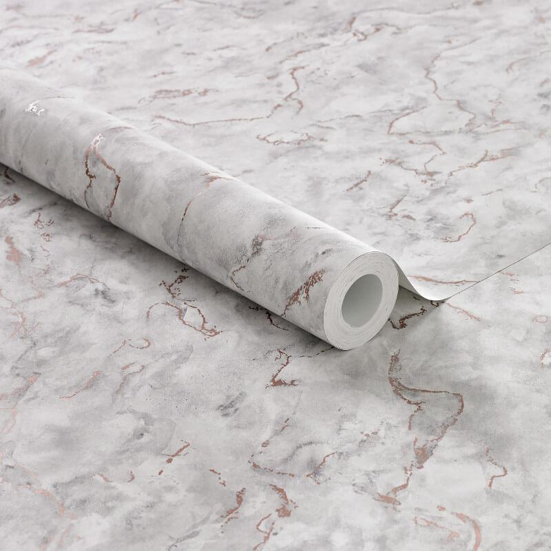 Graham & Brown Boutique Marble White/Grey Metallic Wallpaper - 104148