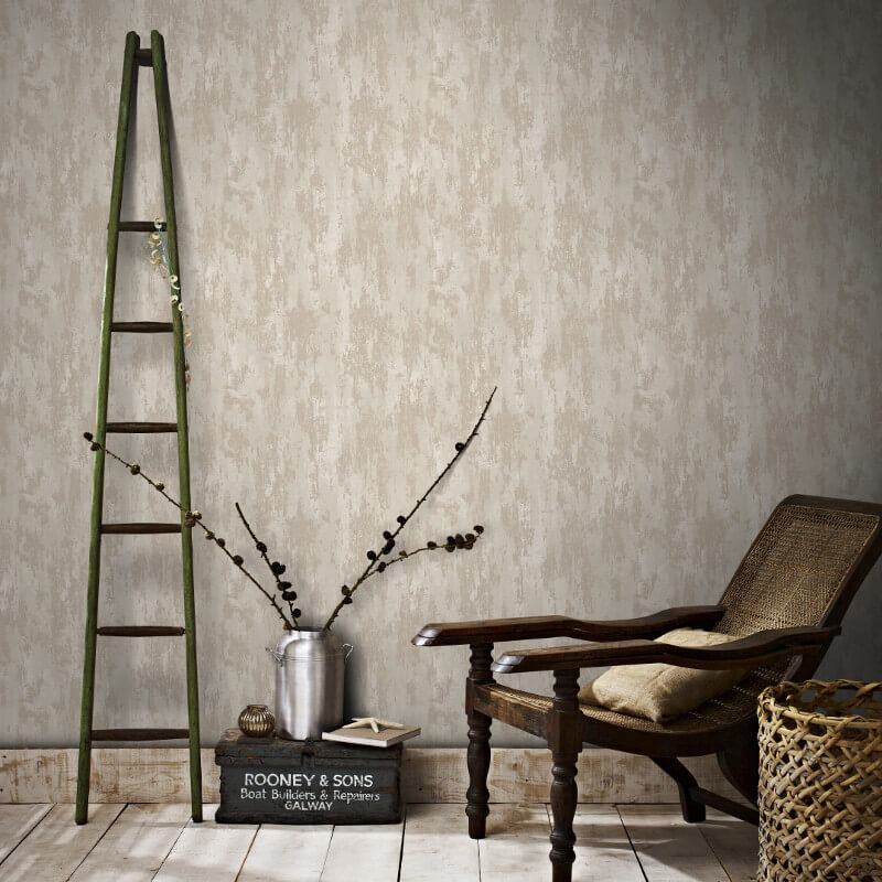 Graham & Brown Industrial Texture Beige/Gold Metallic Wallpaper - 104133