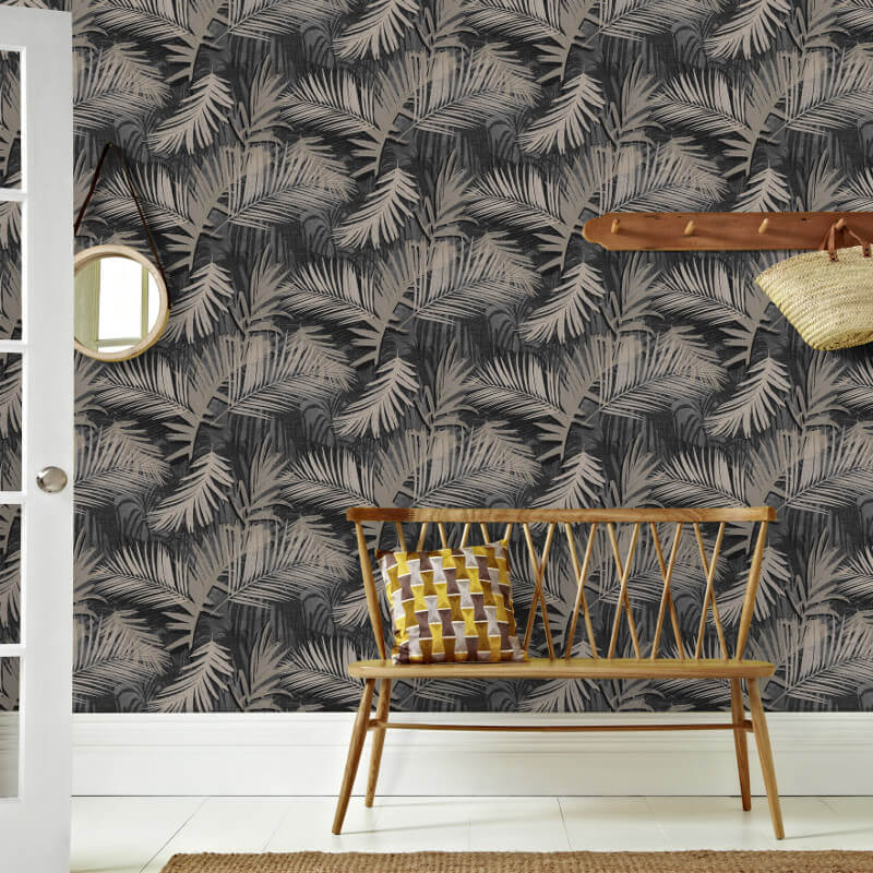 Graham & Brown Jungle Glam Black/Gold Metallic Wallpaper - 104263