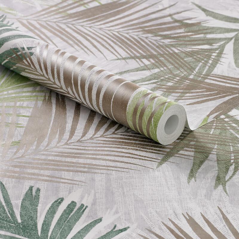 Graham & Brown Jungle Glam Green/White/Taupe Metallic Wallpaper - 104265