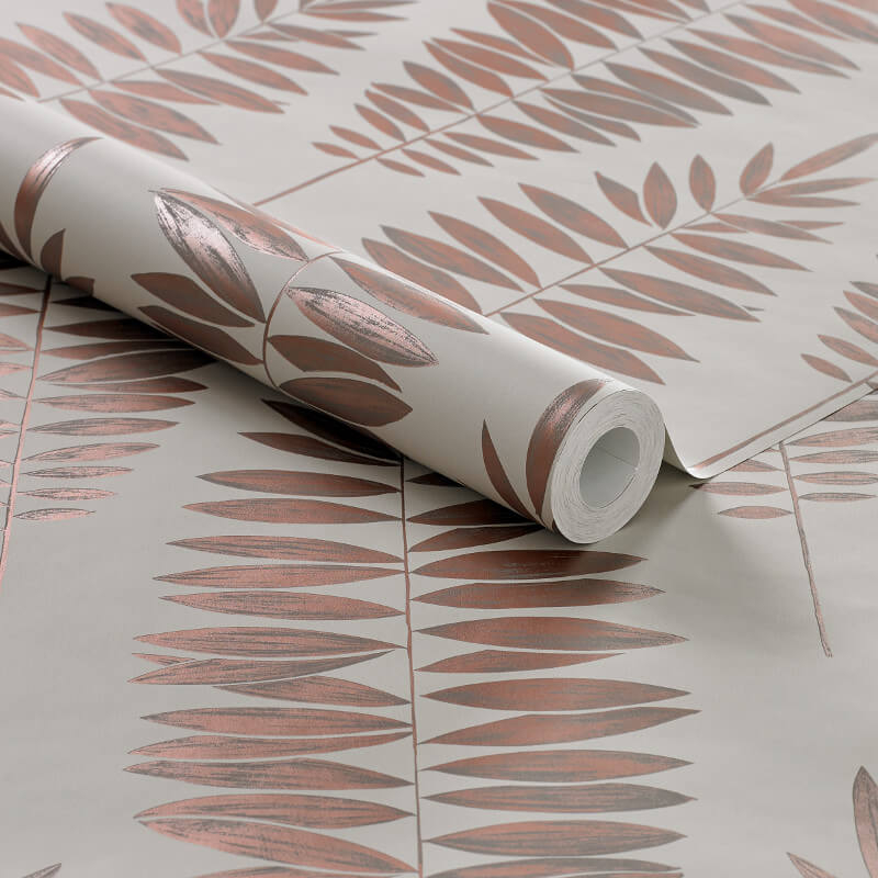Graham & Brown Lucia Leaf Beige/Copper Metallic Wallpaper - 104145
