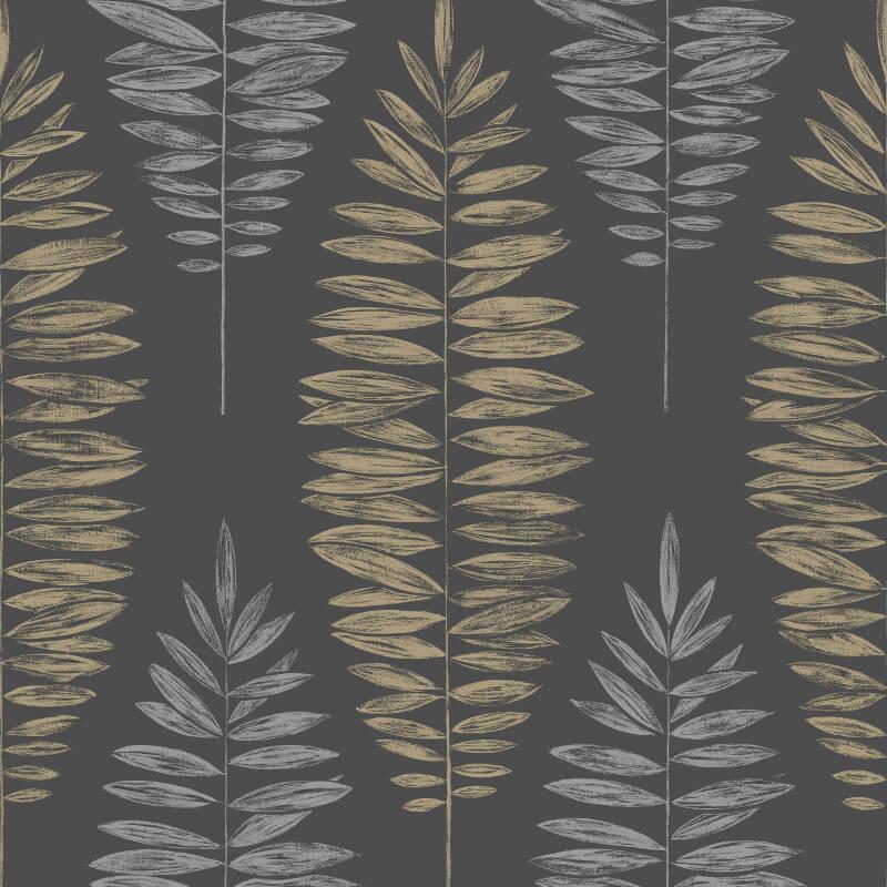 Graham & Brown Lucia Leaf Black/Copper Metallic Wallpaper - 104141
