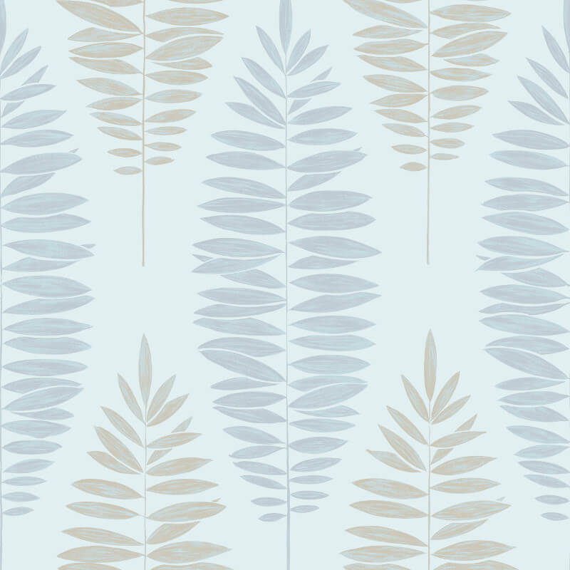 Graham & Brown Lucia Leaf Duck Egg Metallic Wallpaper - 104146