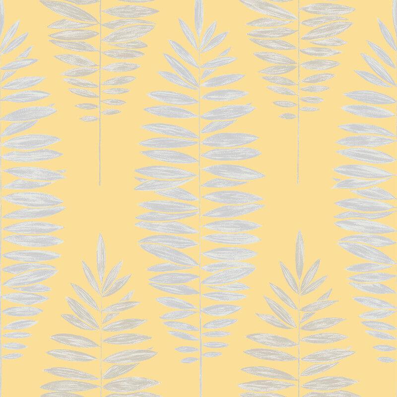 Graham & Brown Lucia Leaf Yellow Metallic Wallpaper - 104144
