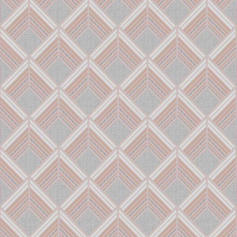 Graham & Brown Trifina Geometric Rose Gold Metallic Wallpaper - 104139