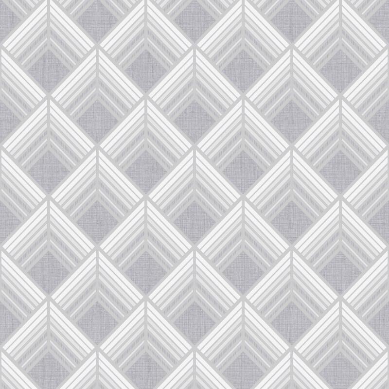 Graham & Brown Trifina Geometric Silver Metallic Wallpaper - 104140