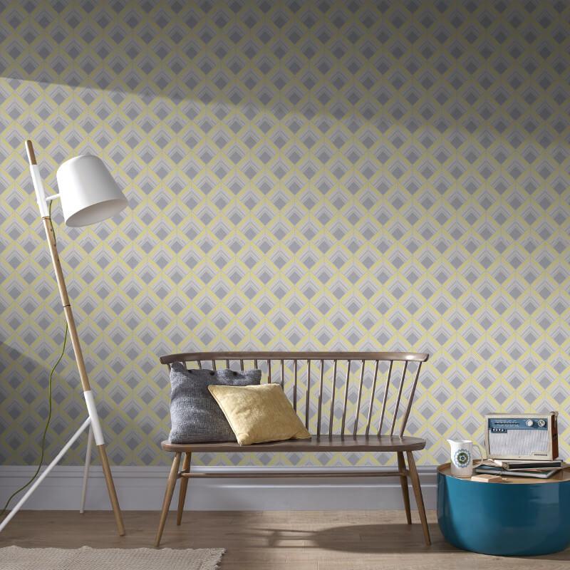 Graham & Brown Trifina Geometric Yellow Metallic Wallpaper - 104138