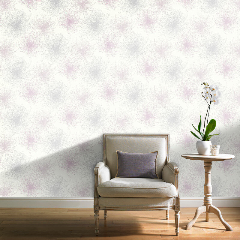 Grandeco Cosmo Floral Pink Glitter Wallpaper - A24305