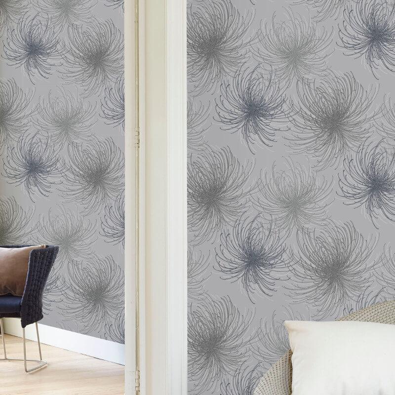Grandeco Cosmo Floral Silver Glitter Wallpaper - A24307