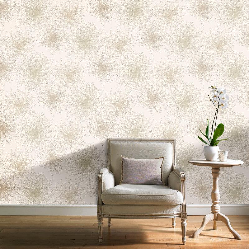 Grandeco Cosmo Floral Taupe Glitter Wallpaper - A24308