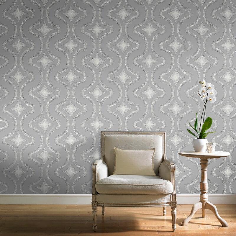 Grandeco Diamond Geo Dark Grey Glitter Wallpaper - A30002