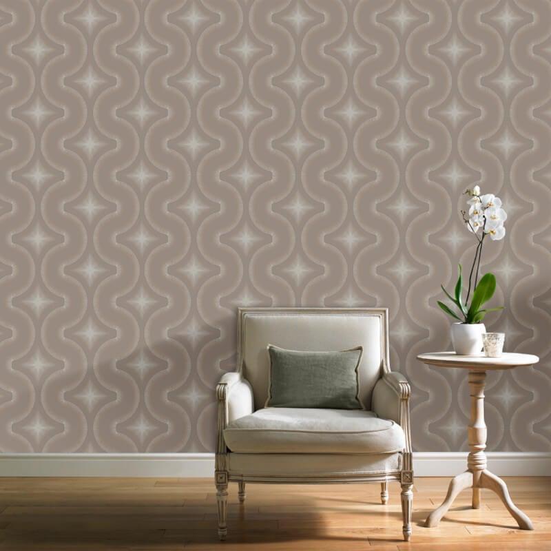 Grandeco Diamond Geo Rose Gold Glitter Wallpaper - A30005