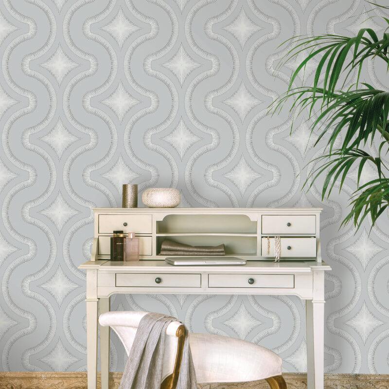 Grandeco Diamond Geo Silver Glitter Wallpaper - A30004