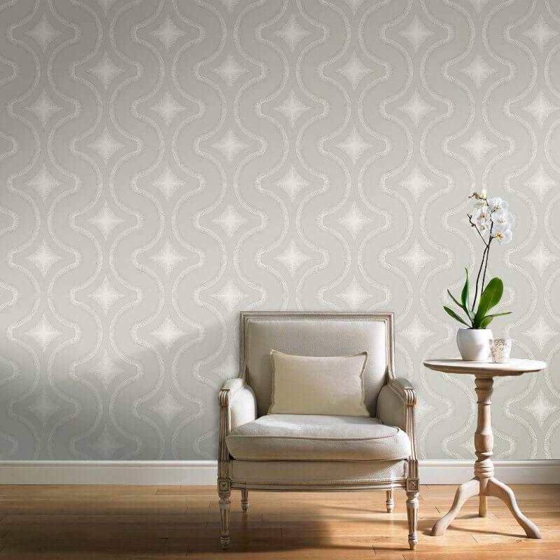 Grandeco Diamond Geo Taupe Glitter Wallpaper - A30006