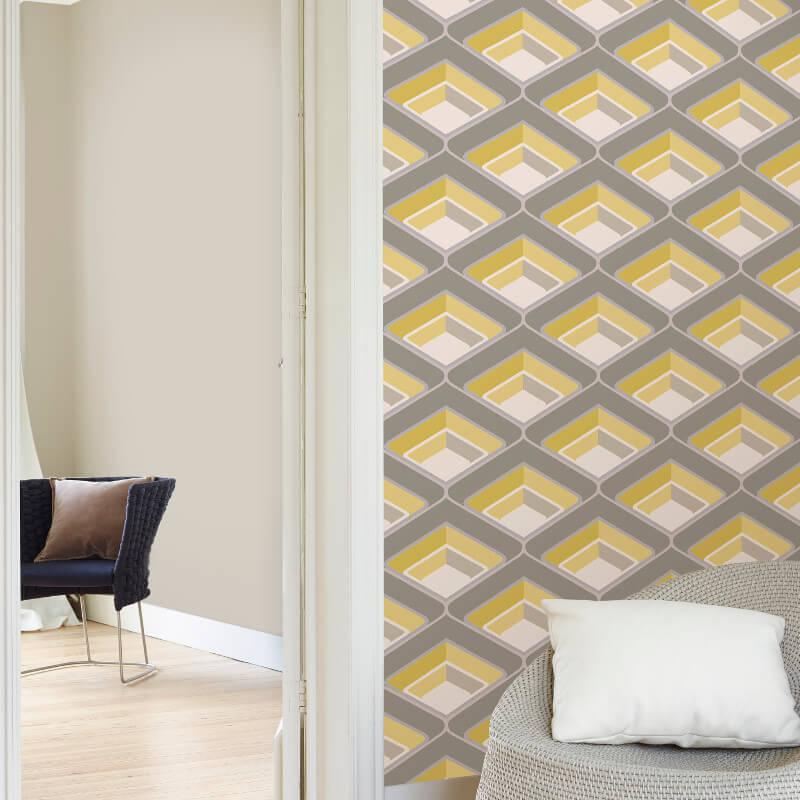Grandeco Geometric Glitter Wallpaper in Yellow and Grey - A16001