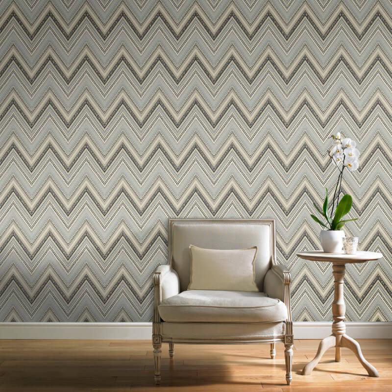 Grandeco Pandora Geo Wave Dark Grey Wallpaper - A32502