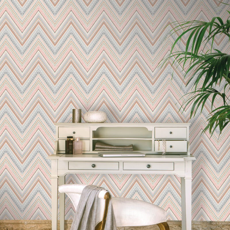 Grandeco Pandora Geo Wave Rose Gold Wallpaper - A32504