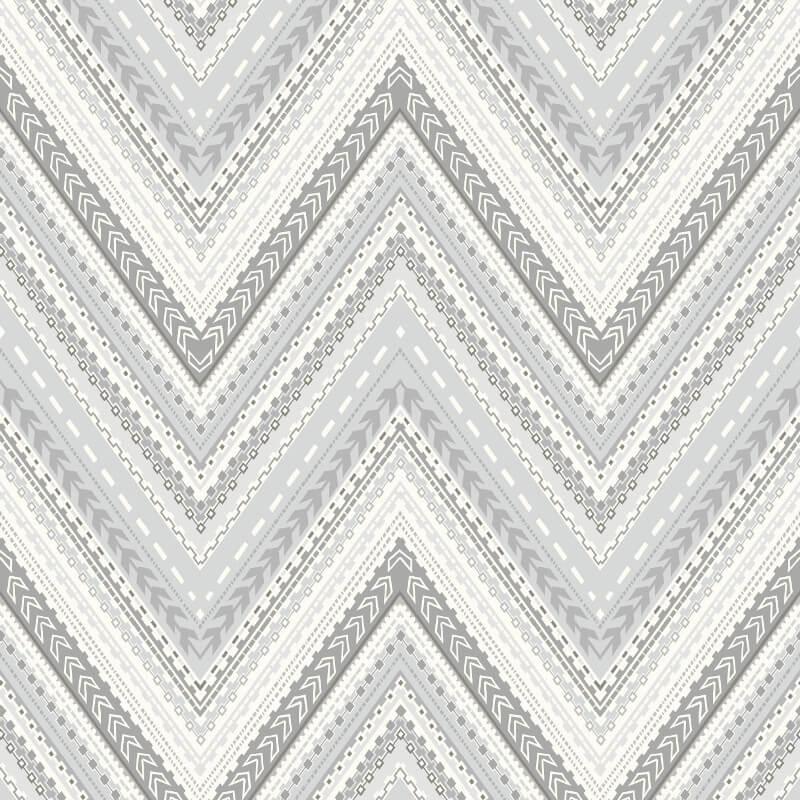 Grandeco Pandora Geo Wave Silver Wallpaper - A32503