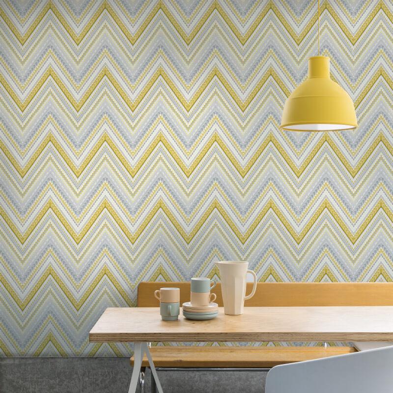Grandeco Pandora Geo Wave Yellow Wallpaper - A32501